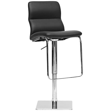 Helsinki Black Faux Leather Adjustable Chrome Barstool