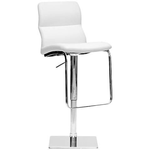 Helsinki White Faux Leather Adjustable Chrome Barstool