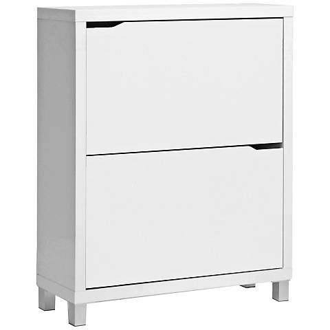"Simms White Two-Tier 37"" High Modern Shoe Cabinet"