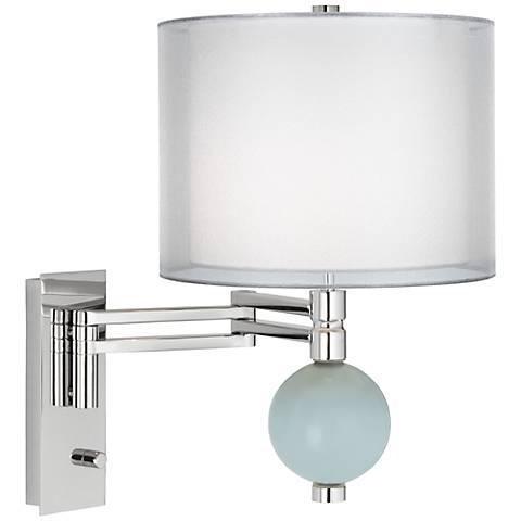 Rain Double Sheer Silver Shade Niko Swing Arm Wall Lamp