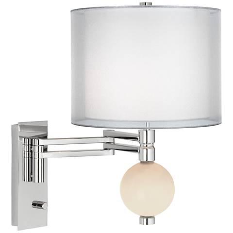 Steamed Milk Sheer Double Shade Niko Swing Arm Wall Lamp