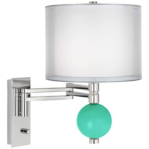 Turquoise Sheer Double Shade Niko Swing Arm Wall Lamp