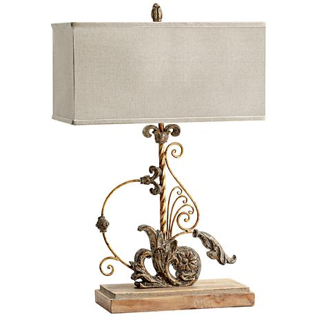 lindley wood and iron traditional scrolling table lamp 3r112 lamps plus. Black Bedroom Furniture Sets. Home Design Ideas
