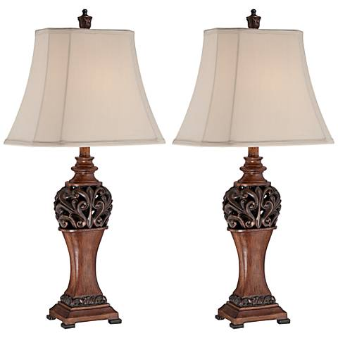 Exeter Wood Finish Table Lamp Set with Non-Dimmable LEDs