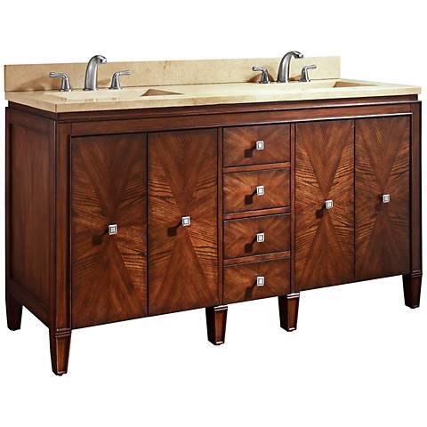 """Avanity Brentwood 61"""" Beige Marble Dual Sink Vanity"""