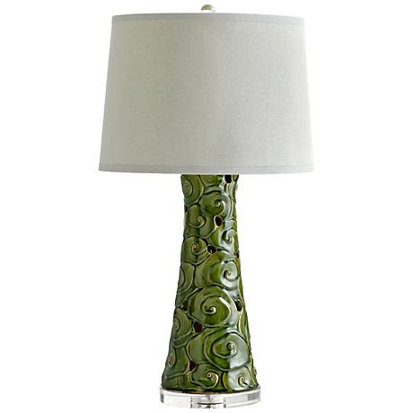 Eva Swirling Ceramic Contemporary Green Table Lamp