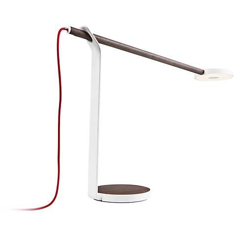 Koncept Gravy LED Desk Lamp in Deep Walnut and Matte White
