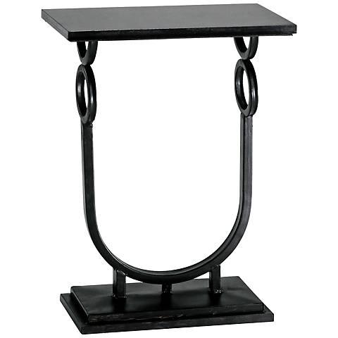Rope Granite and Ebony Metal Side Table