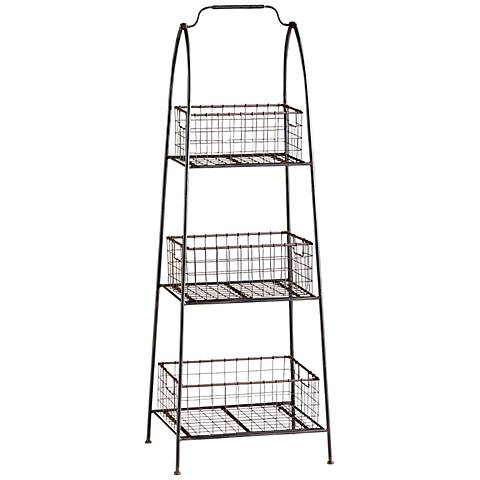Essex Basket Stand Raw Steel Storage Accent