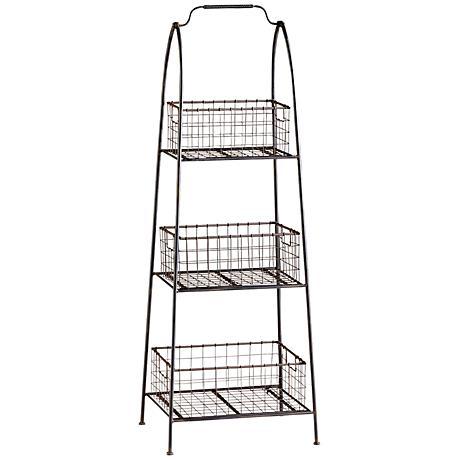 Essex Basket Stand Raw Steel Storage Accent