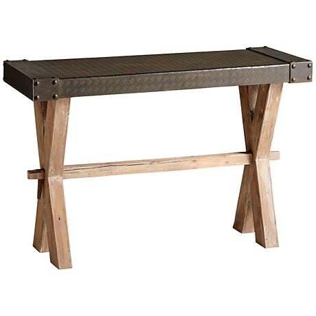 Mesa Raw Iron and Natural Wood Console Table
