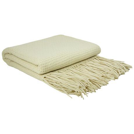 Creme Basketweave Cashmere Blend Throw Blanket