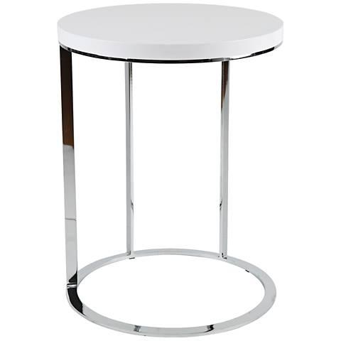 Julia Chrome White Top Round Side Table