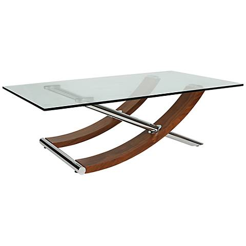 Robin Walnut Glass Top Coffee Table