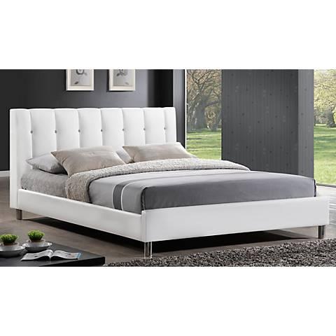 Vino White Modern Bed with Upholstered Headboard