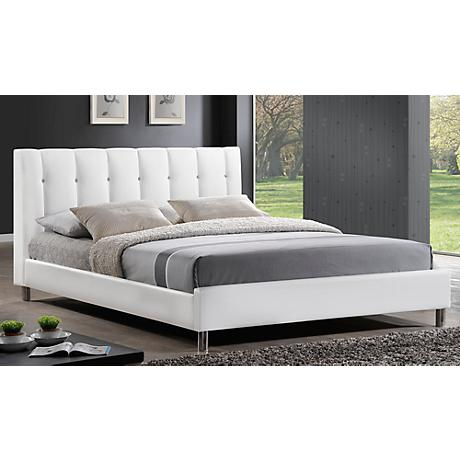 Vino White Modern Bed with Upholstered Headboard