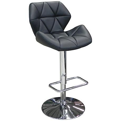 Aaron Black Faux Leather Adjustable Bar Stool