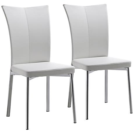 Set of 2 Alice White Faux Leather Dining Chairs