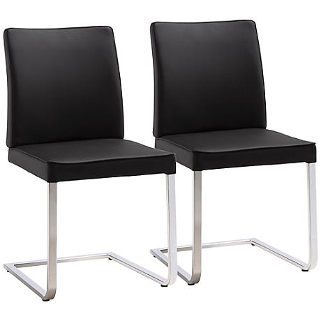 Set of 2 Ivy Black Leatherette Dining Chair