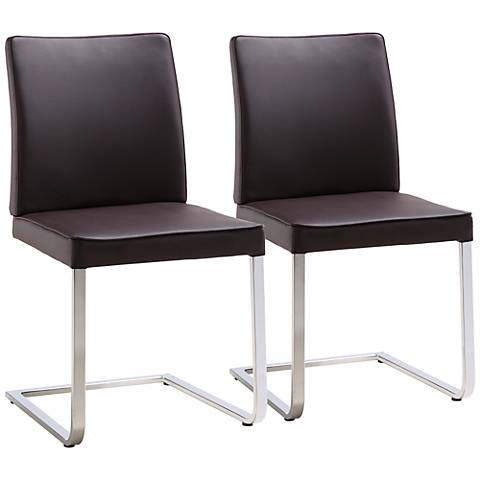 Set of 2 Ivy Brown Leatherette Dining Chairs