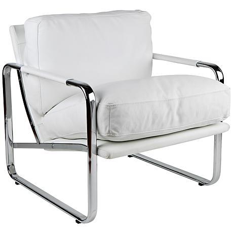 Magi White Leather Chair