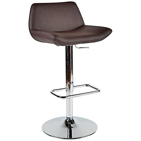 Maya Chocolate Faux Leather Adjustable Bar Stool