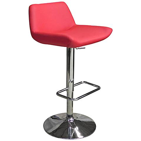Maya Red Faux Leather Adjustable Bar Stool