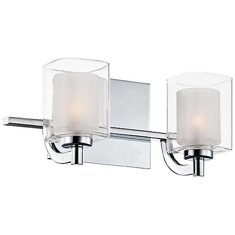 "Quoizel Kolt LED 13"" Wide Chrome and Glass Bathroom Light"
