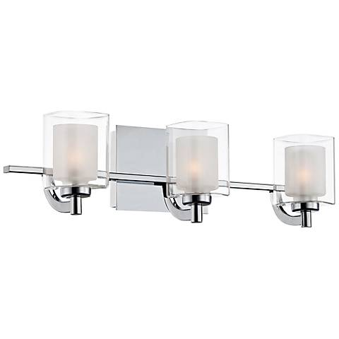 "Quoizel Kolt LED 21"" Wide Chrome and Glass Bathroom Light"