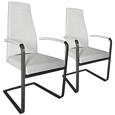 Set of 2 Ville White Leatherette Arm Chairs