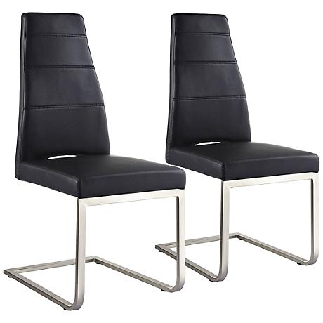 Set of 2 Ville Black Faux Leather Dining Chairs