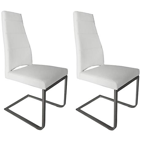Set of 2 Ville White Faux Leather Dining Chair