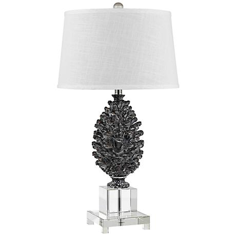pine cone and crystal table lamp 3t148 lamps plus. Black Bedroom Furniture Sets. Home Design Ideas