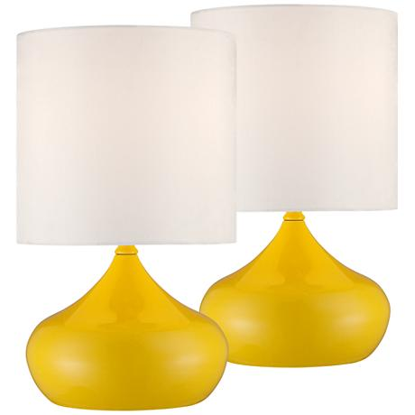Set of 2 Steel Droplet Canary Yellow Small Accent Lamps