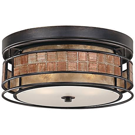 """Quoizel Laguna 12"""" Wide Renaissance Copper Ceiling Light"""