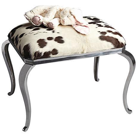 Modern Expressions Nickel and Cowhide Ottoman