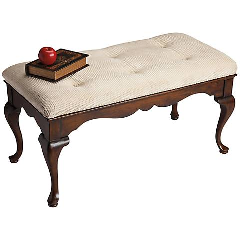 Queen Anne Plantation Cherry Cushioned Bench