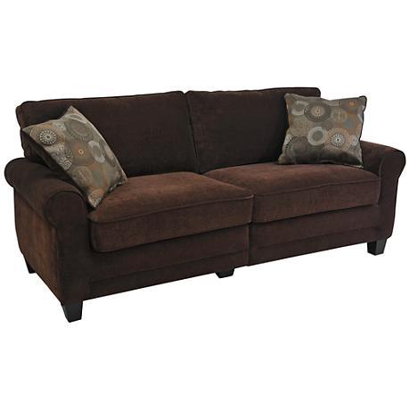 Serta Trinidad Chocolate Fabric Deluxe Sofa