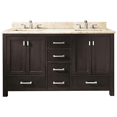 """Avanity Modero 60"""" Wide Beige Marble Double Sink Vanity"""
