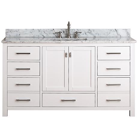 """Avanity Modero 60"""" Wide Black Granite Double Sink Vanity"""