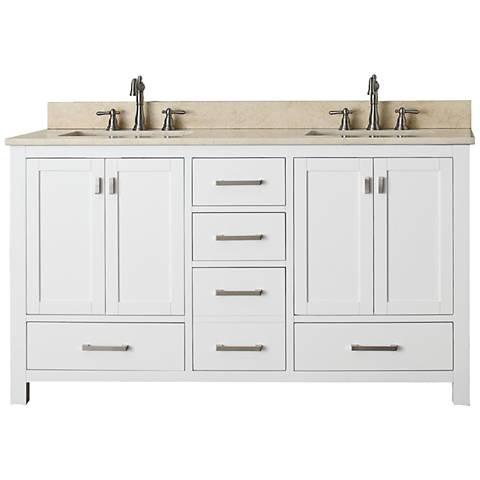 "Avanity Modero 60"" Wide Marble White Double Sink Vanity"