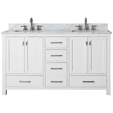 "Avanity Modero 60"" Marble White Double Sink Vanity"