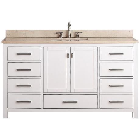 """Avanity Modero 60"""" Wide Beige Marble Sink Vanity"""