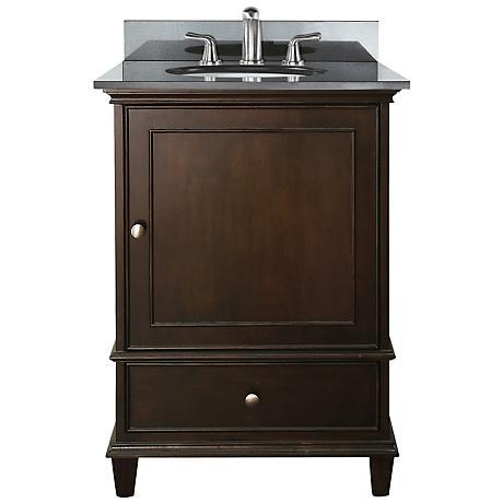 """Avanity Windsor 24"""" Wide Black Granite Sink Vanity"""