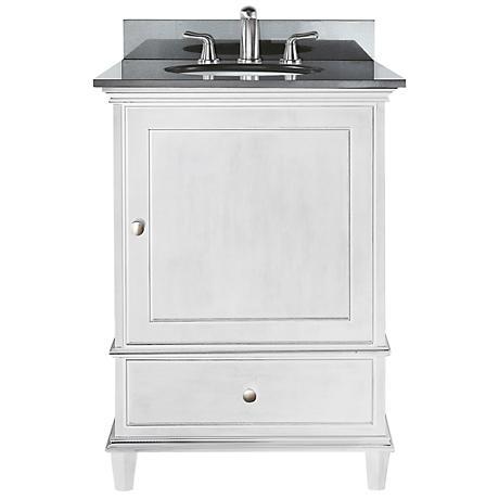 """Avanity Windsor 24"""" Wide Black Granite White Sink Vanity"""
