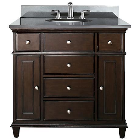 """Avanity Windsor 36"""" Wide Black Granite Sink Vanity"""