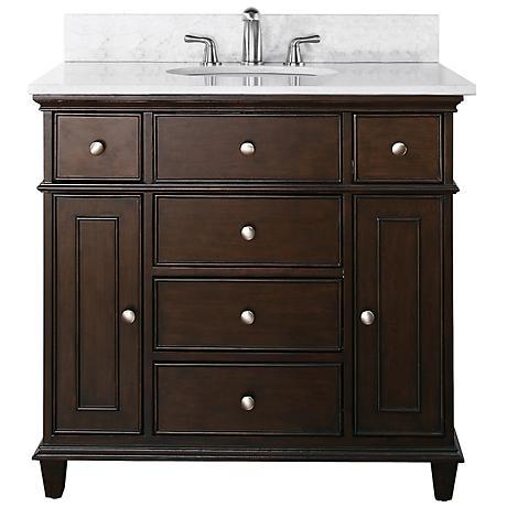 """Avanity Windsor 36"""" Wide White Marble Sink Vanity"""