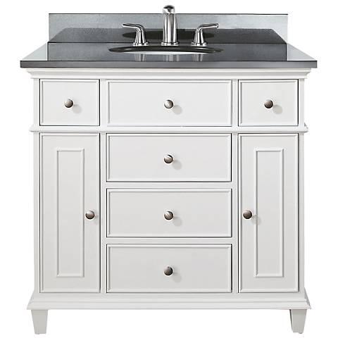 """Avanity Windsor 36"""" Wide Black Granite White Sink Vanity"""