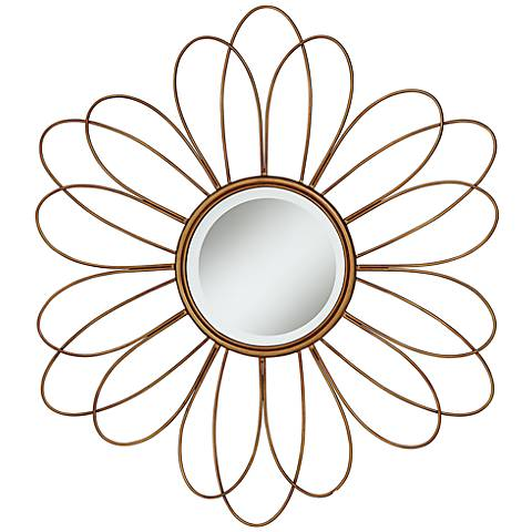 """Melina Double Daisy Flower 38 1/2"""" Round Wall Mirror"""