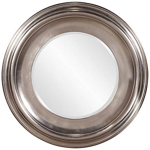 """Howard Elliott Christian Silver Leaf 39"""" Round Wall Mirror"""